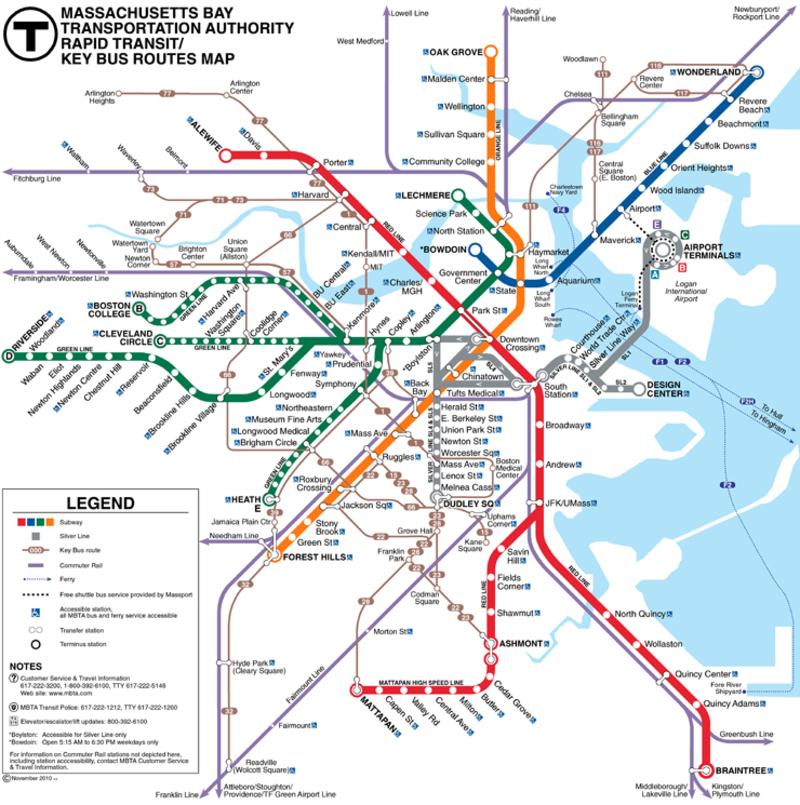 Схема метро Бостона